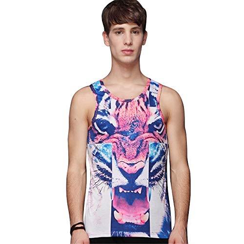 Ärmelloses T-Shirt für Männer Sleeveless lose Trainingssport-Trägershirts der Männer 3D Tier druckte breathable Weste Sommer-Jugend-Strand-Art und Weise Crewneck-Sweatshirt elastisch eng anliegende at - Strand Crewneck Sweatshirt
