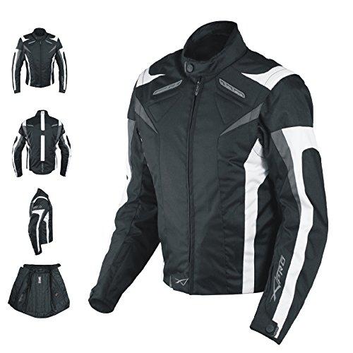 Giacca-Lady-Donna-Tessuto-Cordura-Moto-Protezione-Manica-Staccabile-Bianco-M