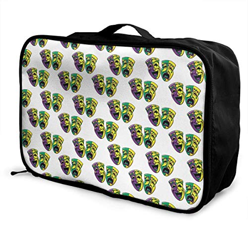 asche sghshsgh Mardi Gras Carnival Mask Travel Duffel Bag Attach to Suitcase Handle Lightweight Business Bags Nylon Luggage Duffel Bag Gym Holiday Overnight Carry On Bag Tote Lugga ()