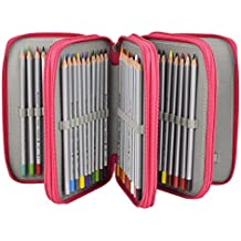 Newcomdigi Estuche Bolso Caja de Lapices Colores 72 Ranuras Portálapices Organizador de Alta Capacidad para Lapices de Colorear Dibujo Acuarela Arte Oficina y Maquillaje Coméstico Rosa Oscuro