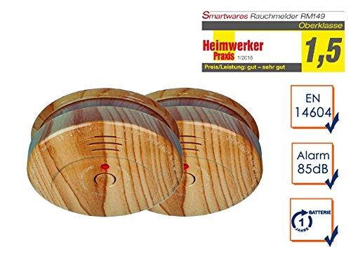 SMARTWARES 2er-Set optische Rauchmelder in Holzoptik, 85dB Alarm, inkl. Batterie; RM149H