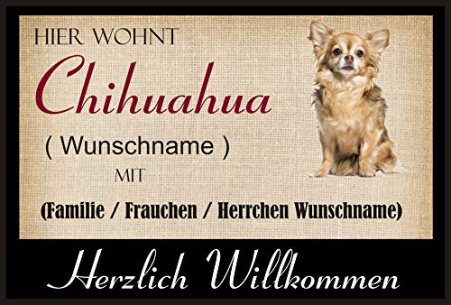 crealuxe Fussmatte/Hundemotiv - Herzlich Willkommen/Hier wohnt Chihuahua (Wunschname) mit Familie...