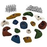 15 Klettergriffe im Starterset für Kinder, Schrauben und 30 Einschlagmuttern inklusive, Farbe:bunt