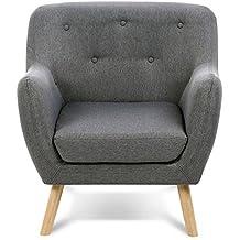 idmarket fauteuil scandinave en tissu gris anthracite - Fauteuil En Tissu