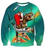 uideazone Unisex Jumper Disfraz de Navidad Impreso en 3D Manga Larga Cuello Redondo Navidad Navidad Gatos Suéter Camisetas Azul