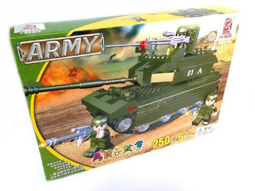 Loongon Army 19139 - grosser Panzer, Kampfpanzer, Leopard, Bausatz mit 250 Bausteinen, 3 Figuren, kompatibel zu anderen Bausteinherstellern