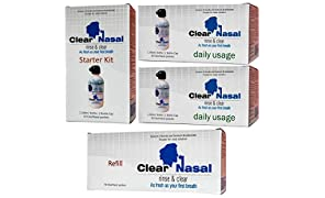 Clear Nasal Rinse And Clear | Stater kit, Daily Use Kit (pack of 2) And Refill Kit Combo For Children And Adults| Nose Cleaner Kit | Sinus Allergies Clear Nasal Pressure Neti Pot | Nose Wash Kit 240 ml