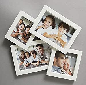 Art Street Oxford Collage Plastic Wall Photo Frame/Wall Hanging for Home Decor (White, Set of 4)