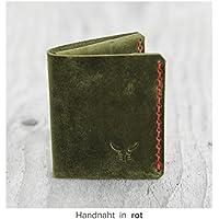 grüne sehr kleine Herren Heritage Geldbörse MONO aus hochwertigem Leder, handgenäht