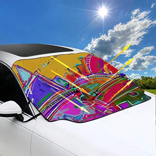 1895 Öl (Auto Windows Shade Künstlerische Öl Straßenmalereien Auto Windschutzscheibe Sonnenschutz für SUV 57.9x46.5 Zoll (147cmx118cm) für die meisten Fahrzeuge durch den Schutz der Windschutzscheibe und Sche)