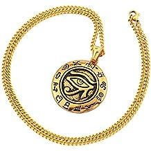 69990a2403da MCSAYS Hip Hop Joyería Ojo de Horus Colgante Redondo 60cm Caja Redonda Cadena  Acero Inoxidable Collar