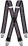 Decalen Hosenträger für Herren breit extra starken 4 cm mit 4er Clips X-Form Lange für Männer und Damen Hose (Marineblau Beige Braun)