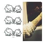 4 Pcs kit Tatouage Autocollant Ephémère Animal Bébé éléphant Mignon