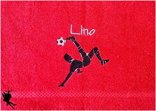 Fußball Handtuch bestickt mit Motiv und Name Fußballhandtuch Fußballer