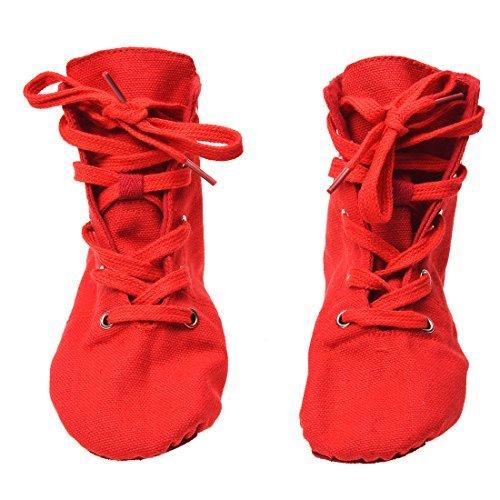 TOOGOO(R) Chaussures avec un talons en toile en semelle douce pour le Jazz et la danse de ballet moderne Chaussures de ballet pour les hommes et les femmes - Rouge DS002-7