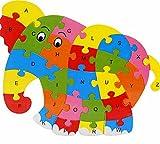 JUNGEN Niños Los juguetes educativos de madera elefante 26 letras rompecabezas