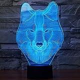 Tiscen Wolf 3D Optical Illusion Desk Lamp 7 Colors Change Touch Button USB Nightlight Produces Unique Visualization Lighting Effects Art Sculpture Light