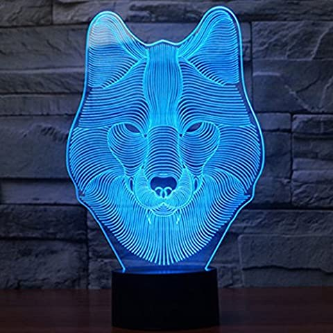 Tiscen Wolf 3D Optical Illusion Desk Lamp 7 Colors Change Touch Button USB Nightlight Produces Unique Visualization Lighting Effects Art Sculpture
