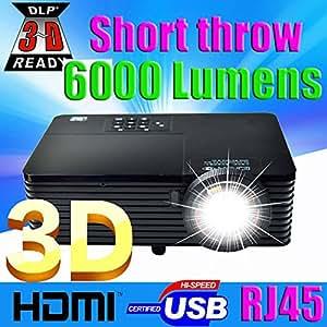 MU Meilleur 300inch 6000ANSI ultra courte focale HDMI USB RJ45 DLP Projecteur 3D Daylight 1080P extérieure pour les affaires Annoncer Education