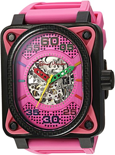 Ritmo Mundo 'Hulk' Japanese Automatic Stainless Steel and Silicone Casual Watch, Color: (Model: 1300/2 Pink)