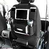 Delmkin Auto Rücksitztasche Utensilientaschen Hochwertige Leder Autositzschutz Tablet Organizer (Schwarz)