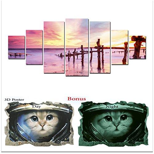 Grande toile murale Motif plage Startonight Bundle Rose Coucher de soleil sur la mer, Big encadrée Peinture, cadeau gratuit Poster 3d Chat pour enfants