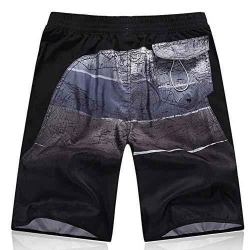 Minetom Herren Shorts Sporthose Boxershorts Badehose Swimsuits Jogginghose Sommer Bermudas Kurzhose Elastisch Schnell Boardshorts Gradient Farben Schwarz