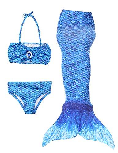 Blau Kind Seemann Kostüme (Le SSara Mädchen Cosplay Kostüm Badebekleidung Meerjungfrau Shell Badeanzug 3pcs Bikini Sets (130,)