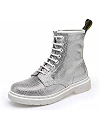 Women Lace Up Martin Boots England 8 Hole Leather Ankle Boots Autumn Retro Boots White Silver