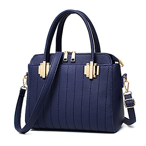 DFUCF Damen PU lässig Büro Beruf Umhängetasche Schiefer Tasche Handtasche Aktenkoffer Schroff Klassisch Hochzeit Party Jahreszeiten Dark Blue