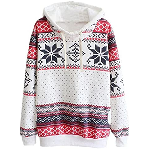 Coversolate Mujer Navidad Nieve Encapuchado Capucha Saltador Suéter Pull-over Camisa