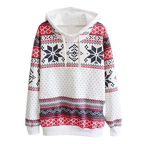 Coversolate Mujer Navidad Nieve Encapuchado Capucha Saltador Suéter Pull-over Camisa (M, multicolor)