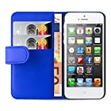 iPhone SE, iPhone 5 / 5s Lederhülle | JAMMYLIZARD Ledertasche [ Wallet Series ] Leder Hülle Flip Case Cover Schutzhülle mit Kartenfach, Blau