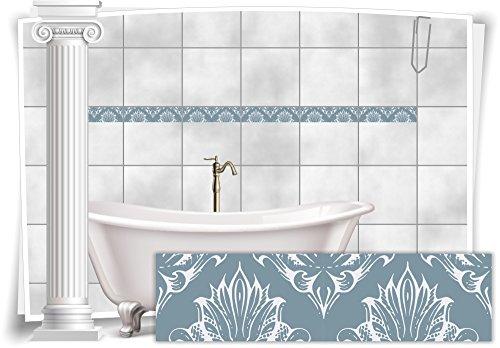 Fliesenaufkleber Bordüre Fliesen Aufkleber Vintage Nostalgie Retro Bad WC Küche, 20 Stück, 20x5,2cm (BxH)
