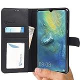 Huawei Mate 20 X Hülle [Schwarz] Tasche Mate 20X Brieftasche [Abacus24-7® Bookstyle] Handy-hülle/Leder-Tasche mit Ständer Fächern für Karten Bargeld, Handytasche Huawei Mate 20 X Case Cover
