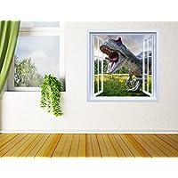 Oedim Vinilo Ventana Dinosaurio   100x90cm   Adhesivo Incluido   Decoracion Habitación   Pegatina Adhesiva   Multicolor   Diseño Profesional