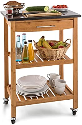 Klarstein Tennessee carrito auxiliar de cocina con 3 niveles (encimera de 58 x 40 cm de granito negro, 2 estantes a 28 cm altura, 1 cajón, 4 ruedas de goma con freno, bambú)