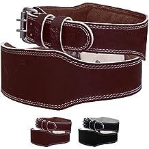 Cinturón de levantamiento de peso Mytra Fusion 10 cm, de piel curtida con soporte de espalda para levantamiento de peso, para hombres, marrón, Large