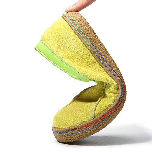 Gracosy Mocassins Femme, Chaussures de Ville en Suède Talon Plate Loafters Slip On A Enfilter Printemps - Marron Jaune (Grille de Poiture à Voir) Jaune