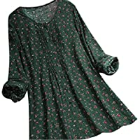 Yisism Women's Floral Print Plus Size Cotton Linen Long Sleeve Loose Blouse T-Shirt Tops Green US XL