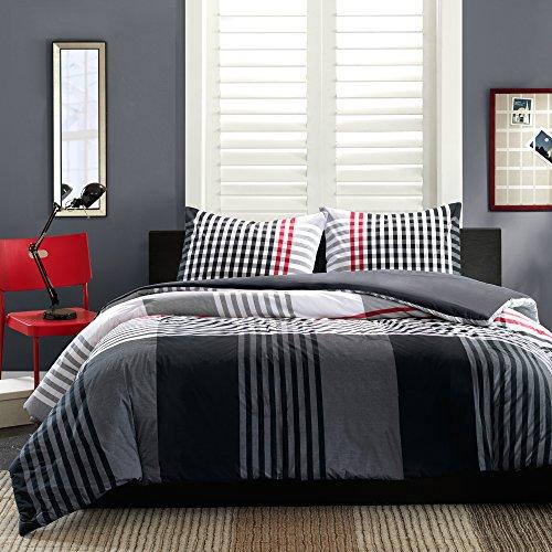teilig Mini Bettbezug Set, baumwolle, Schwarz , Queen (Bettbezug Queen Baumwolle Schwarz)