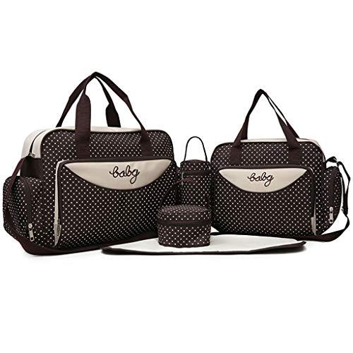 Lomsarsh 5 STÜCK Frauen Multifunktions Mummy Bag Handtaschen Mutterschaft Kinderwagen Tasche nähen wasserdichte Handtasche große Kapazität Flasche Tasche Mummy Tasche