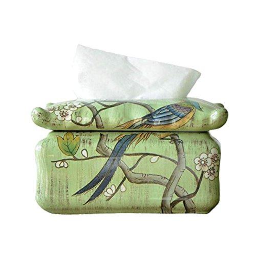 Jiaa Wohnkultur Produkte mit Modernen und Stilvollen Aussehen Design Handgefertigte bemalte Blumen und Vögel Schlafzimmer Kosmetiktuch Spender Box Cover beheizte Handtuch - Vögel Serviettenhalter