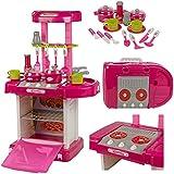 FunkyBuys® 29 Pc Kitchen Cooking Children's Play Set Toy w/ Light & Sound Kids Girls Pink