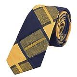DonDon Herren Krawatte kariert 6 cm gelb-dunkelblau