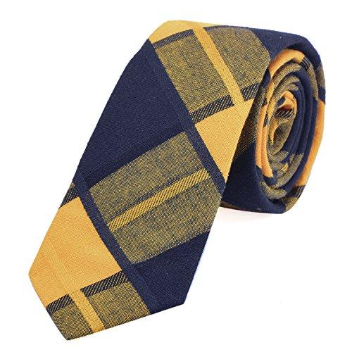 Dondon cravatta di cotone stretta a quadri da uomo 6 cm - giallo blu scuro