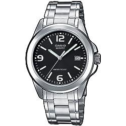 Casio-MTP-1259PD-1A-Classic-Men's Watch, Analogue Quartz, Black Dial, Grey Steel Strap