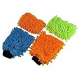Microfaser-Set Mikrofaser Putz Handschuh und Schwamm 4er Set Reinigungstuch Auto Haushalt Haustier Hund Pfoten