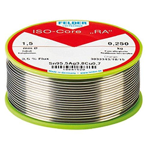 FELDER ISO-Core 'RA' Sn99,3Cu0,7 Weichlot Bleifrei Lötdraht mit Flussmittel 2,5% VPE: 250g Spule, Größe:1.0 mm -