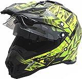 Motorradhelm MX Enduro Quad Helm Schwarz Grün mit Visier und Sonnenblende Gr. L